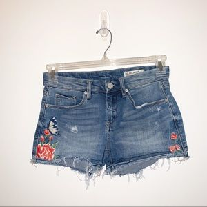 Blank NYC Distressed Floral Embroidered Shorts